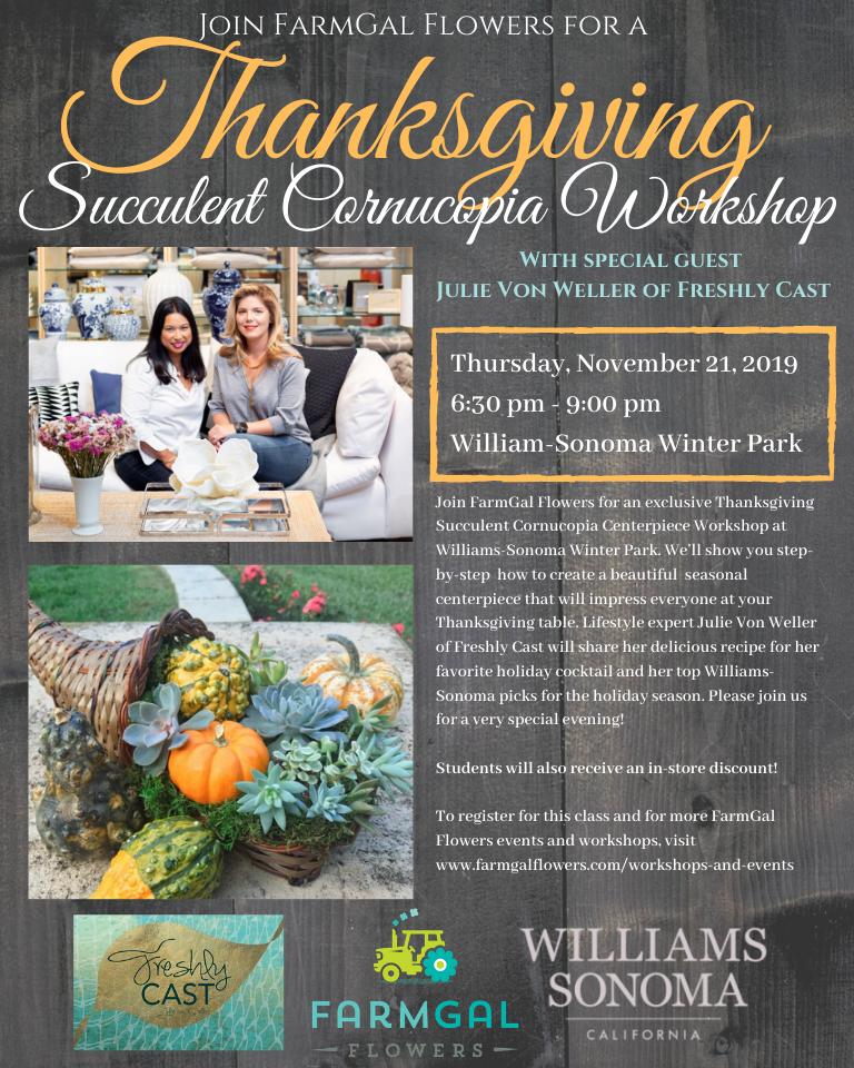 Thanksgiving Succulent Cornucopia Centerpiece Workshop